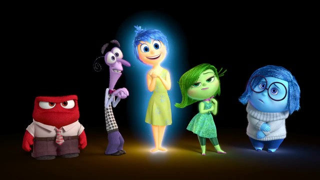 Inside Out movie poster showing the five main emotions of Riley